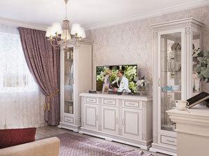 интерьер гостиной в большой квартире в романтичном стиле
