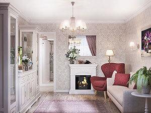 камин в дизайне гостиной в большой квартире