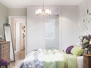 шкаф с пескоструйным фантазийным рисунком в интерьере спальни в стиле арт-деко