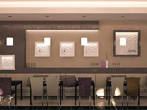 зонирование кафе : зона с диванами и столиками