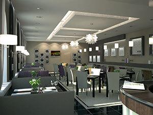 дизайн зала в современном кафе